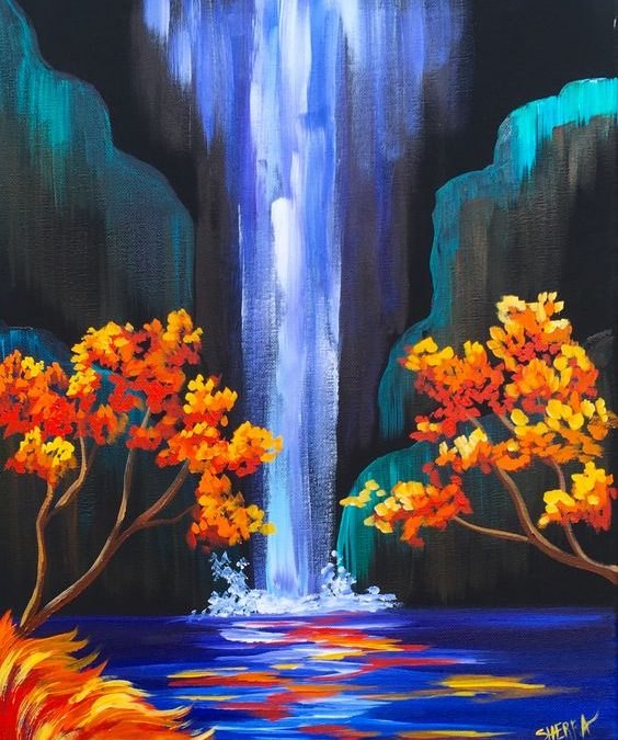 Sip and Paint Evening – Autumn Waterfall
