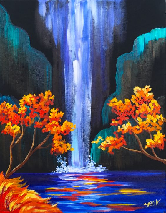 Sip And Paint Evening Autumn Waterfall Bella Ceramica Studio