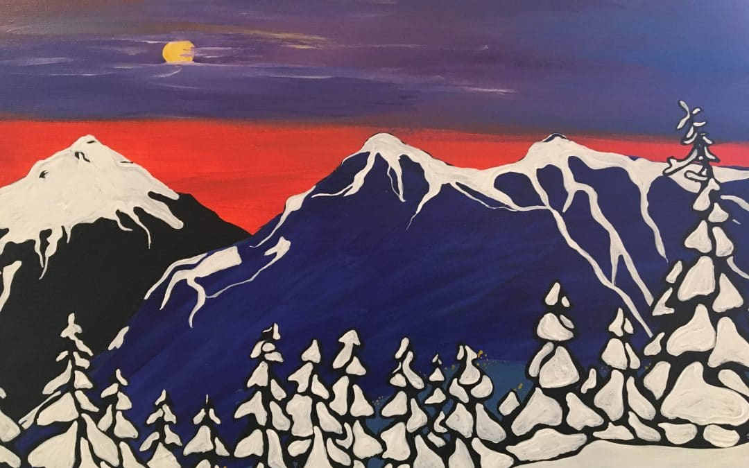 Sip and Paint Night – Snowy Mountain