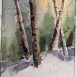 Virtual Watercolour workshop – Birches in Winter