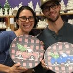 Plaid Holiday Truck  on Platter