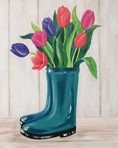Sip and Paint Night – Boot Bouquet